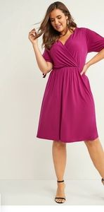 Red Fit & Flare Dress with Tie Sleeves